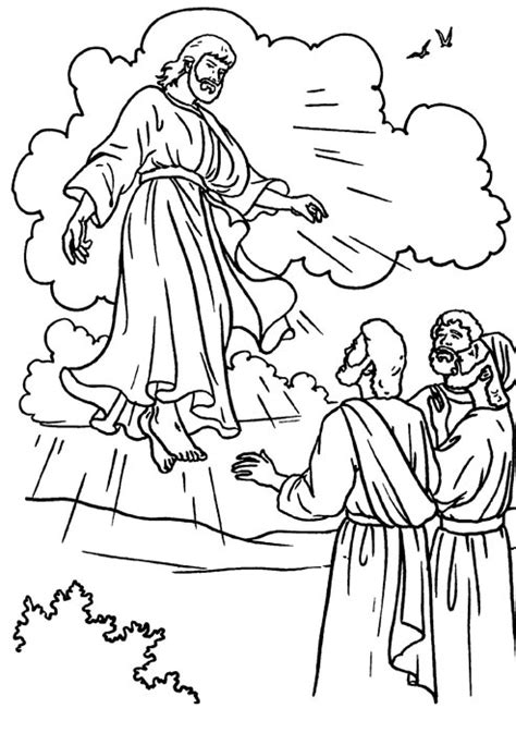 Drawings To Color Easter Week Ascension Of Jesus To Color Jesus Ascension Coloring Page