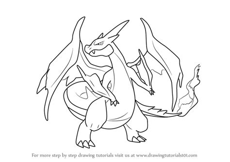 Charizard Z Drawing by Learn How To Draw Mega Charizard Y From