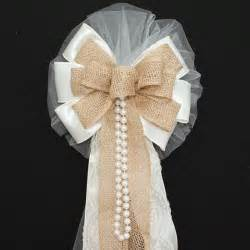 ivory burlap lace pearls rustic wedding bows pew church aisle decorations