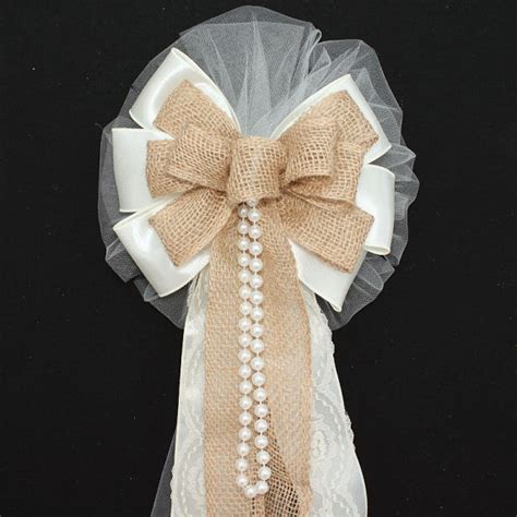 Wedding Aisle Bows by Ivory Burlap Lace Pearls Rustic Wedding Bows Pew Church