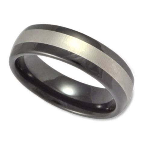 mens black and silver wedding bands s tungsten wedding band in 8mm with silver center and
