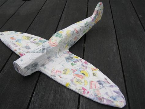 How To Make A Paper Mache Airplane - cardboard supermarine spitfire mk 5 4 steps