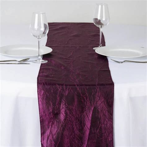 wholesale eggplant taffeta crinkle table runner for
