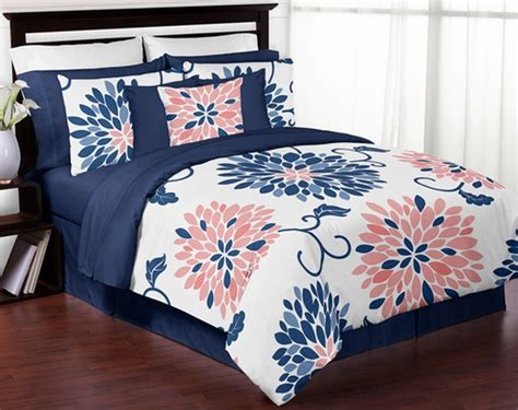 navy and coral comforter navy blue and coral ava 4pc twin girls teen bedding set by