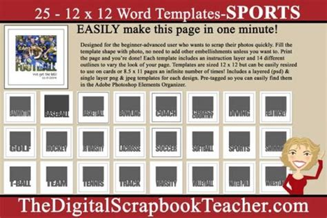scrapbook templates microsoft word 12 x 12 word templates sports download only the