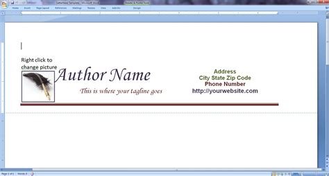 make a letterhead template in word design your own author letterhead to query editors and