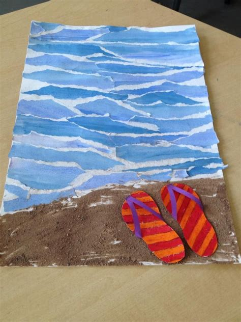 How To Make Waves With Paper - end of year instead of torn water coloured paper use