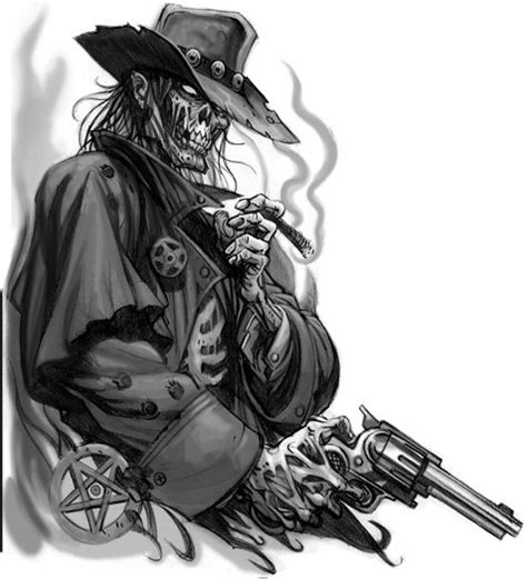 skeleton with gun tattoo design hm art amp tattoo