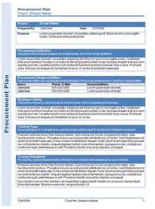 procurement management template procurement plan template getprojecttemplates