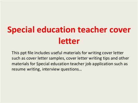 Sle Thank You Letter To Special Needs Special Education Cover Letter