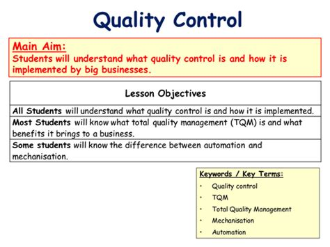 sle business plan quality control quality control total quality management tqm
