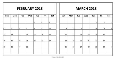 Printable Calendar 2018 February And March | february march 2018 calendar printable journalingsage com