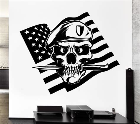 Harley Davidson Wall Mural wall decal american flag skull soldier death war knife