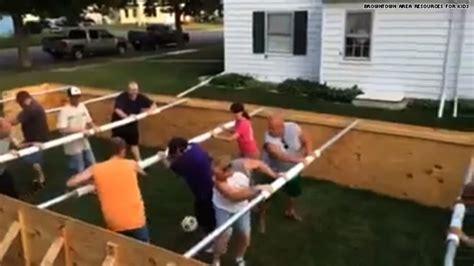 human foosball table woah a sized human foosball table hlntv