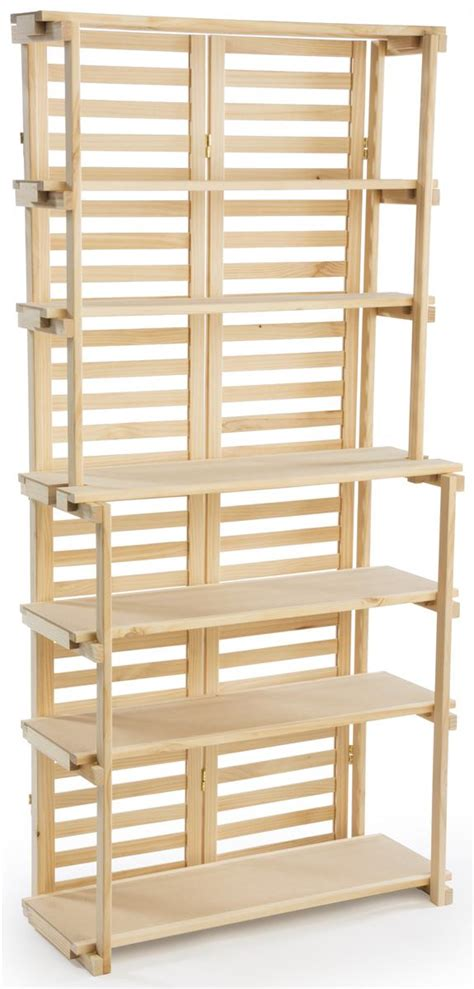 wooden bakers rack pine display with 6 shelves