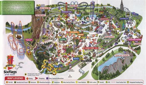 map of six flags texas theme park brochures six flags texas theme park brochures