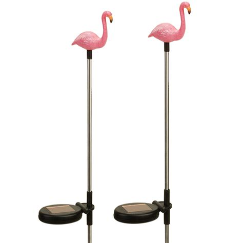 2 pack solar outdoor garden pathway stake led flamingo