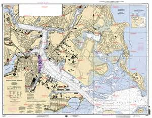Boston Harbour Map by Boston Inner Harbor Maps Cartography And Topographical