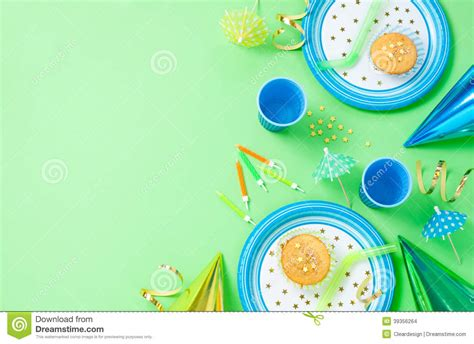 boy birthday decorations  green table stock photo image