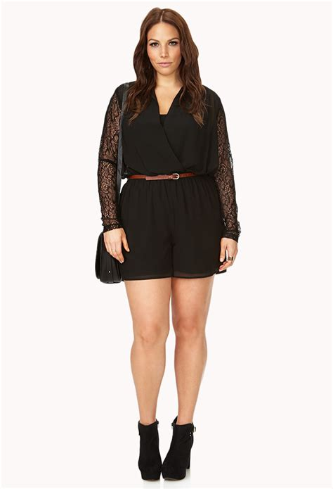 lyst express surplice lace romper in black forever 21 bombshell surplice lace romper in black lyst