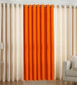 cream orange curtains homezaara set of 3 orange and cream royal plain long door