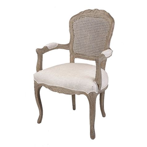 french country armchair french country linen dining armchair with rattan back