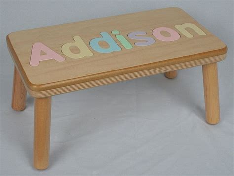 bench name wooden name puzzle step stool bench birthday gift wood