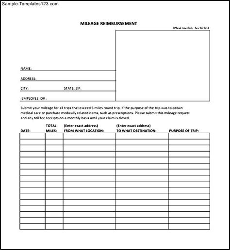 mileage reimbursement form in pdf sle templates
