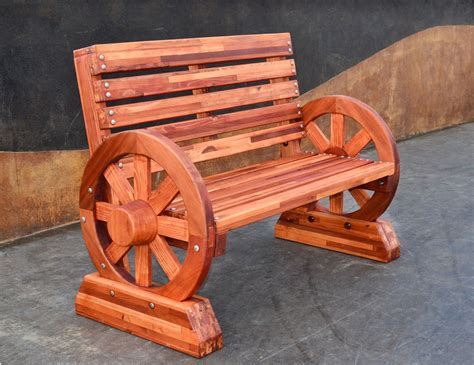 bench wheels redwood wagon wheel bench custom redwood seating