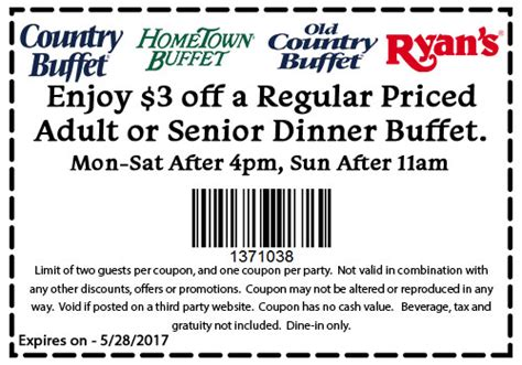 old country buffet coupons 1 3 off at ryans