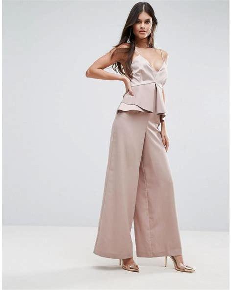 Jumpsuit Pink Premium lyst asos premium occasion jumpsuit with pephem in pink