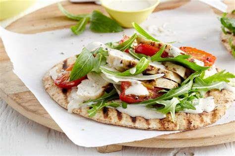 light grilled chicken recipes grilled chicken flat breads with light caesar dressing