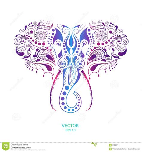 patterned colored of the indian patterned colored of the elephant indian