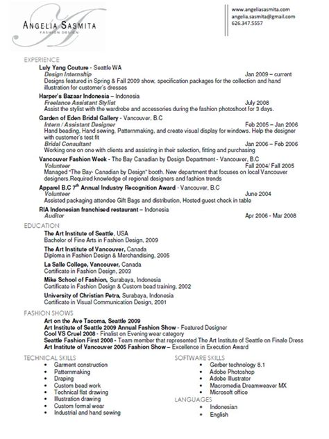 Resume Sles Fashion Designer Fashion Designers Resume