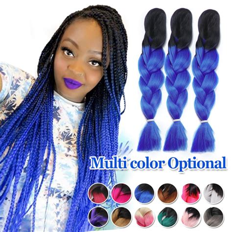 ombre marley hair purple marley braid hair two tone purple grey blue black