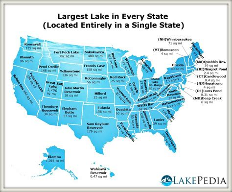 map of usa with lakes the largest lake in every state located entirely in a