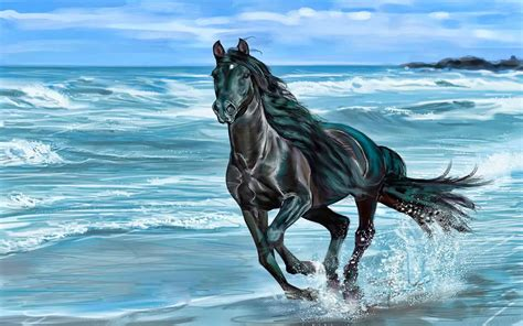 running horse animals beach beauty horse nature sea wave  wallpaperscom