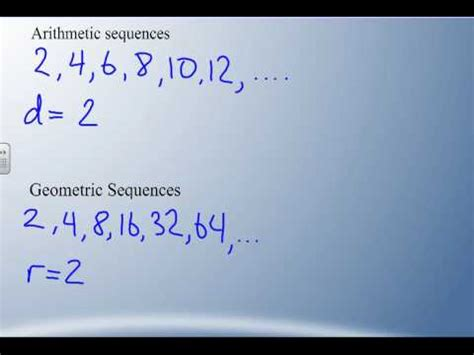 geometric pattern vs arithmetic math b30 6 2 arithmetic vs geometric sequences youtube