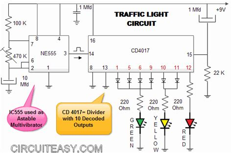 traffic light mini electronics project and circuit