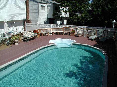 Inground Pool Decks Semi Inground Pools With Deck Studio Design Gallery