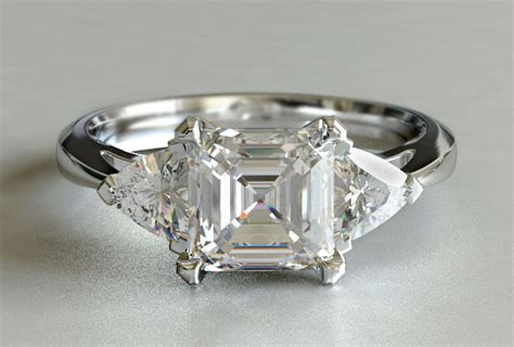 asscher and trillion three engagement ring new zealand