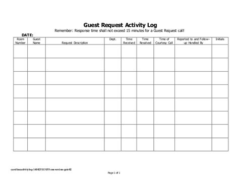 hotel up call template careline activity log