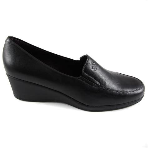 black wedge loafers buy pitillos black leather wedge heel loafer shoe