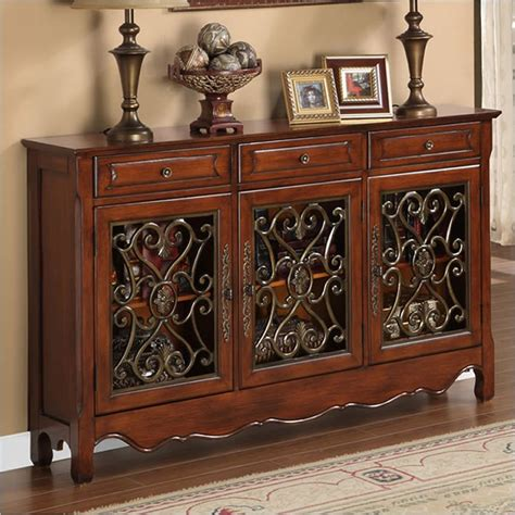Foyer Designs 3 Wrought Iron Stereo Cabinet Foyer Decor | walnut 3 door scroll console powell furniture 246 335