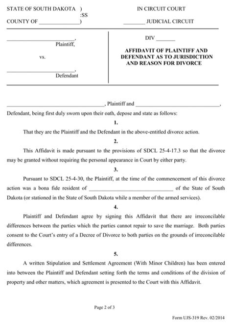 Download South Dakota Affidavit Of Plaintiff And Defendant As To Jurisdiction And Grounds For Divorce Terms And Conditions Template