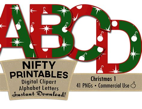 printable alphabet letters christmas christmas ornaments alphabet red green nifty printables