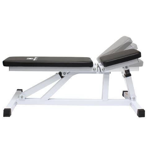 heavy duty weight bench white adjustable flat incline home gym dumbbell workout