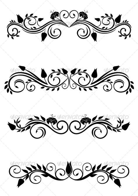Flourish Frame Outline by Vintage Floral Decorations Graphicriver