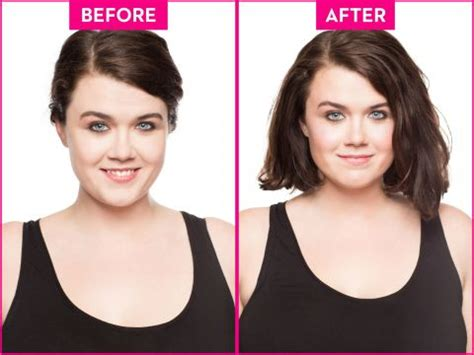 face slimming haircuts before and after how to slim a round face in 3 easy steps using blush to