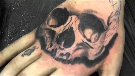 timelapse skull tattoo on the hand youtube